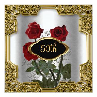 Le cadre argenté d'or fleurit l'invitation carton d'invitation  13,33 cm