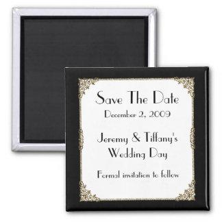 Le cadre élégant de noir et d'or sauvent l'aimant  magnet carré
