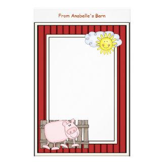 Le cadre rouge de grange rose heureuse de porc papeterie