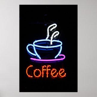 Le café au néon se connectent le noir affiche