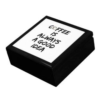 Le café est toujours une bonne idée - tache de grande boîte à bijoux carrée