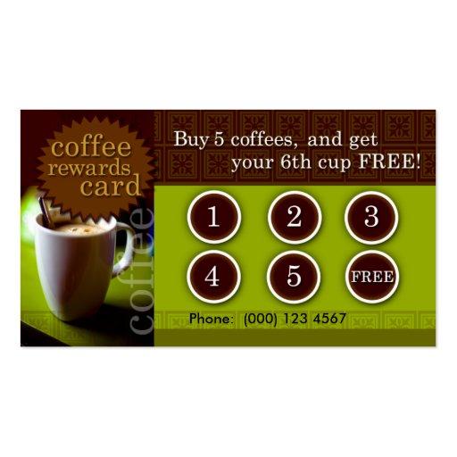 Le café récompense la carte cartes de visite professionnelles