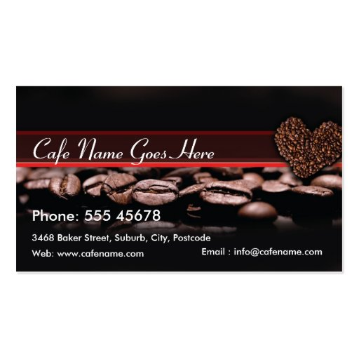 Le café récompense la carte modèles de cartes de visite