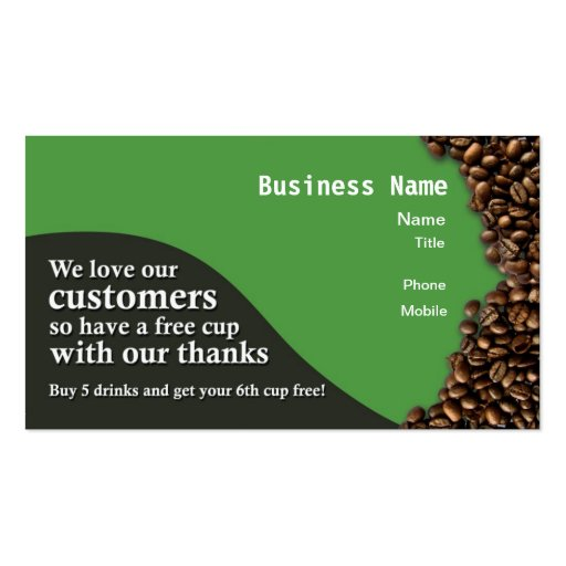 Le café récompense la carte - vert carte de visite