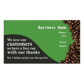 Le café récompense la carte - vert carte de visite standard