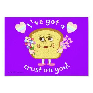 Le calembour mignon de pain de Valentine badine la Carton D'invitation 8,89 Cm X 12,70 Cm