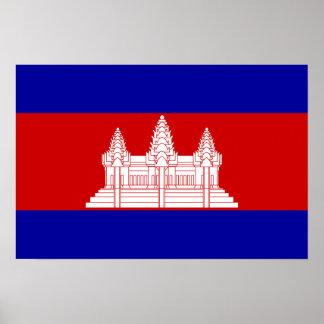 Le Cambodge - drapeau cambodgien Poster