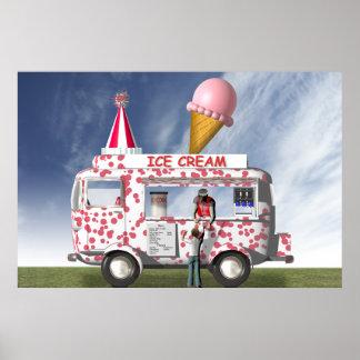 Le camion de crème glacée posters