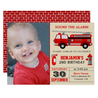 Le camion de pompiers badine l'invitation de fête carton d'invitation  12,7 cm x 17,78 cm