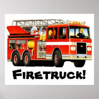 Le camion de pompiers rouge de l'enfant géant poster