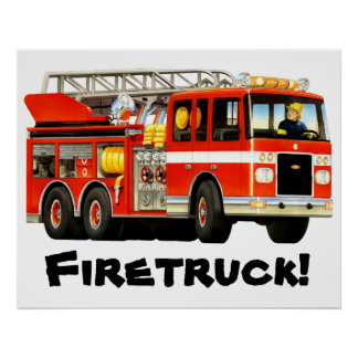 Le camion de pompiers rouge de l'enfant géant posters