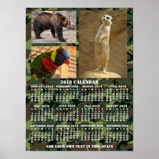 Le camouflage mensuel de calendrier de 2018 ans poster