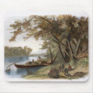 Le campement des voyageurs sur le Missouri, plat Tapis De Souris