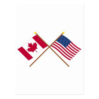 Le Canada et les drapeaux croisés par Etats-Unis Carte Postale