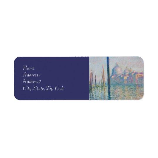 Le canal grand par Monet Étiquettes D'adresse Retour