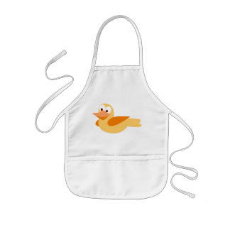 Le canard heureux et amusant en volant tablier enfant