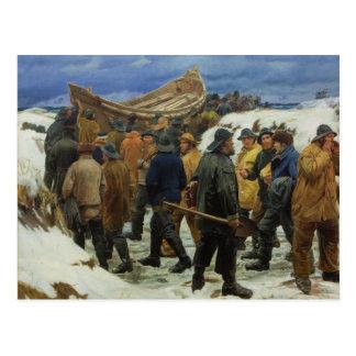 Le canot de sauvetage est pris par les dunes par carte postale