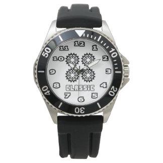 Le caoutchouc de noir de l'acier inoxydable des montre