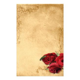 Le caramel vintage Brown et s'est levé Motifs Pour Papier À Lettre