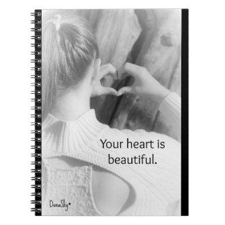 """Le carnet de notes à spirale """"votre coeur est beau"""
