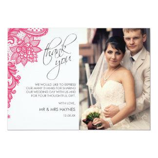 Le carte de remerciements de mariage, lacent la carton d'invitation  12,7 cm x 17,78 cm