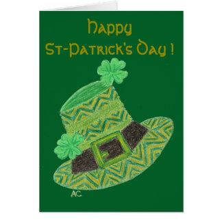 Le casquette du lutin vert de chevron badine la carte de vœux