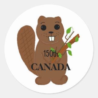 Le castor canadien célèbrent le Canada Sticker Rond