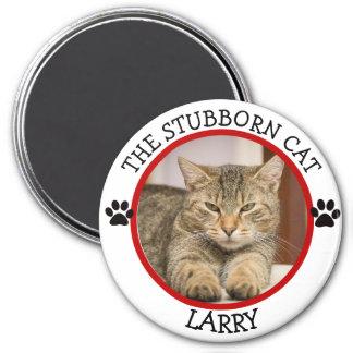 LE CAT TÊTU : Bouton humoristique de photo de Magnet Rond 7,50 Cm