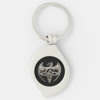 Le Celtic Trine de dragon argenté et noir noue Porte-clé Swirl Argenté