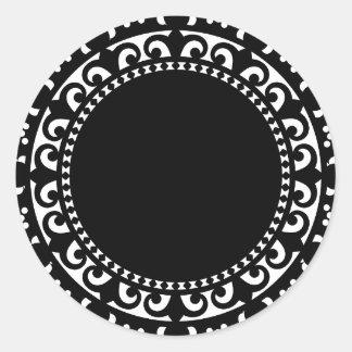 le CERCLE 3332__doily-shape-1 BLANC NOIR FORME Sticker Rond