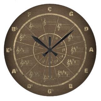 Le cercle de la musique des cinquièmes habillés grande horloge ronde