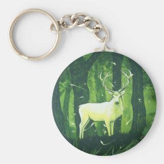 Le cerf blanc porte-clé rond