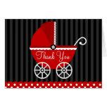 Le chariot noir rouge pointille le Merci Carte