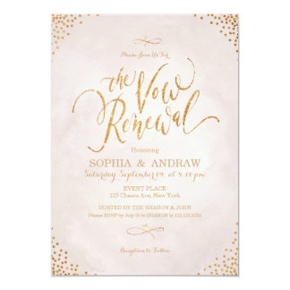 Le charme rougissent renouvellement rose de voeu carton d'invitation  12,7 cm x 17,78 cm