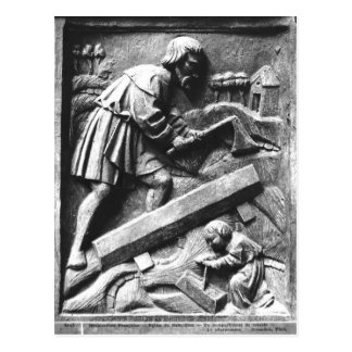 Le charpentier, détail d'un retable carte postale
