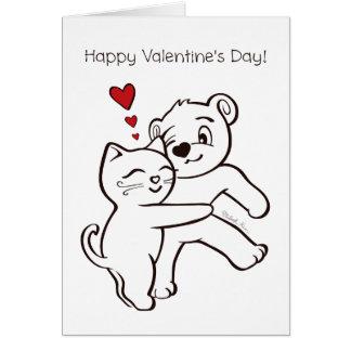 Le chat aime la carte de heureuse Sainte-Valentin