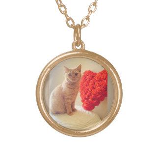 Le chat avec le coeur a charmé le collier de