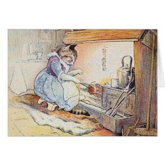 """Le """"chat de chat se repose comptine par feu"""" carte de vœux"""