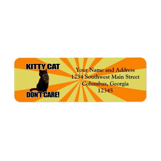 Le chat de Kitty ne s'inquiètent pas Étiquette D'adresse Retour