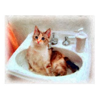 Le chat de l'impressionniste dans une carte carte postale