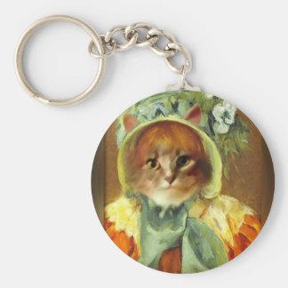 Le chat de Mary Cassatt dans le capot Porte-clé Rond