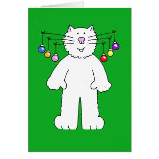 Le chat de Noël, babioles pendant de lui est des Carte De Vœux