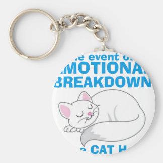 Le chat de panne émotive porte-clé rond