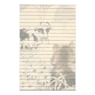 Le chat et la vache papier à lettre personnalisé