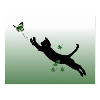 Le chat et le papillon carte postale