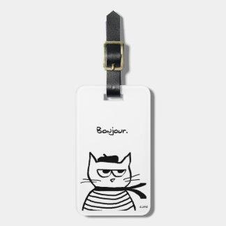 Le chat fâché est tellement très français étiquette à bagage