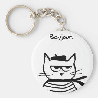 Le chat fâché est tellement très français porte-clé rond