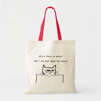 Le chat fâché exige le saumon - sac fourre-tout