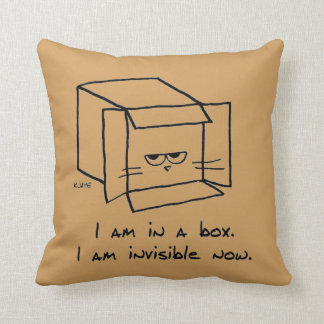 Le chat fâché se cache dans une boîte coussins carrés