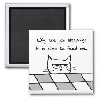 Le chat fâché vous veut hors du lit magnet carré